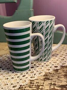 California Pantry Ceramic Tall 6 Inch Mugs Green Design & Green Stripes - 2