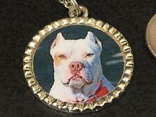 "Dog Pit Bull White Charm Tibetan Silver with 18"" Necklace BIN B"