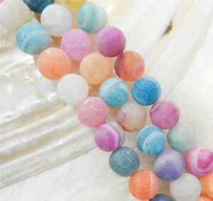 6mm 8mm 10mm  Multicolor Dream Fire Dragon Veins Agate Round Gems Loose Beads 15