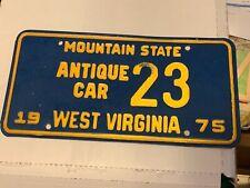 1975 West Virginia Antique License Plate Low # 23