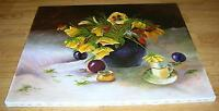 PANSIES PANSY GARDEN FLOWER WILDFLOWERS GRAPES FRUIT STILL LIFE TEA CUP PAINTING