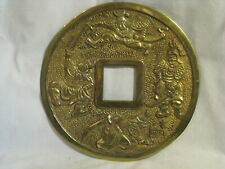 vintage solid brass Samurai Ninja Ming coin style Asian Oriental wall decor rare