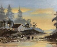 Original oil painting Landscape Cabin Artwork Art Listed By artist Artettina USA
