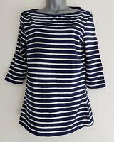 ESMARA Women's Blue/White Striped 3/4 Sleeve Cotton Jersey Top. Size Medium.