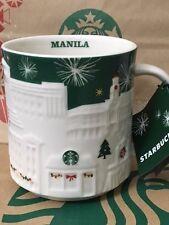 Starbucks 2015 Manila Christmas Green Relief 18 Oz Mug