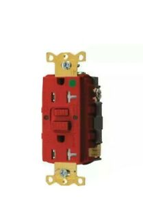 HUBBELL WIRING DEVICE-KELLEMS GFTWRST83R GFCI Receptacle,20A,125VAC,5-20R,Red