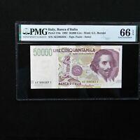1992 Italy 50.000 Lire, Pick # 116c, PMG 66 EPQ Gem Uncirculated