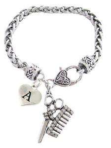 Custom Crystal Hair Stylist Scissors Comb Bracelet Jewelry Choose Initial All 26