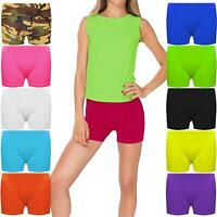 GIRLS HOT PANTS KIDS STRETCHY DANCE GYMNASTICS SPORTS SCHOOL PE CYCLING SHORTS
