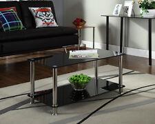 Black Glass Coffee Table Living Room Chrome Furniture Rectangle 2 Tier Shelf New
