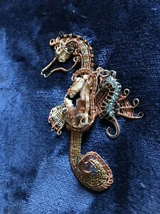 60% OFF! Custom Handmade Wire Wrapped Shell Seahorse Pendant Ornament Geos Blue