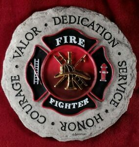 """Spoontiques Fire Fighter 3D Resin Step Stone. 9.25"""" Diameter"""