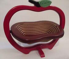 Wood Collapsible Fruit Vegetable Basket Carved Wooden Apple Trivet RED- in Box