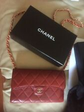 100%Auth Chanel Flap Wallet Clutch Red Matelasse Chain Purse Bag Crossbody