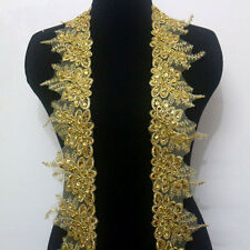 1 Yard Handwork Flower Embroidery Gold Metallic Corded Beaded Sequins Lace Trim