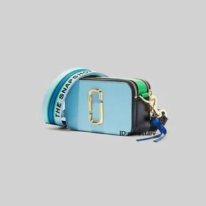 HOT Brand MARC JACOBS Snapshot Small Camera Bag MISTY BLUE MULTI bag sales.
