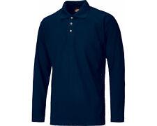 Dickies Long Sleeve Polo Shirt Sh21100 Mens Durable 3 Button Work T-shirt L Navy