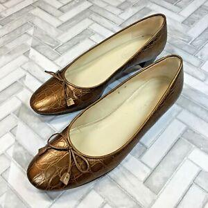 Talbots Women's Size 6 Dress Shoe Bronze Leather Low Block Heel Almond Toe Bow