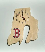 MLB Boston Red Sox Rhode Island shaped wood quartz wall clock with team logo.