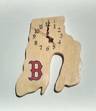 MLB Boston Red Sox Rhode Island shaped wood quartz wall clock with team logo.