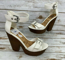 Guess Womens 8.5 Sultry White Sandals Shoes Wooden Chunky Platform High Heels