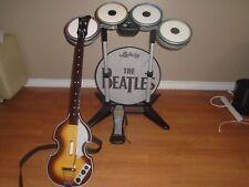 Xbox 360 Rock Band The Beatles Box Bundle Drum Set Kit Guitar Mics & 2 Games Lot