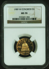 1989 W CONGRESS Gold Coin $5 NGC MS 70