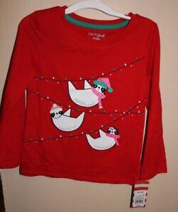 Cat & Jack Girls Winter Christmas Panda Red Pink Long Sleeve Shirt Top Sz S New