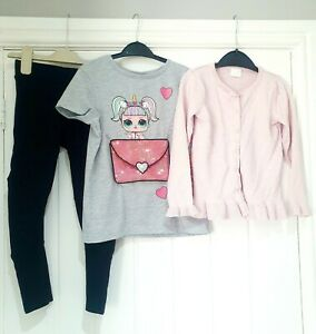 girls 6-7 years BUNDLE OUTFIT leggings LOL sparkle t shirt F&F Pink cardigan
