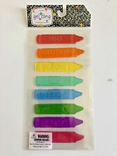 NEW Gel Window Cling 8 ct Rainbow Colors Crayons Educational Classroom Learning!