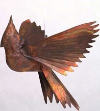 Flamed Copper Hanging Cardinal Home, Yard Art Ornament