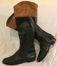 Office Black Knee High Leather Lovely Boots Size 41 (708Q)