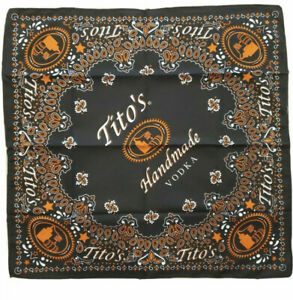 Lot Of 2 Tito's Vodka Bandana Scarf Handkerchief 21x21 Black Orange Paisley