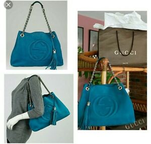 Gucci turquoise suede soho bag