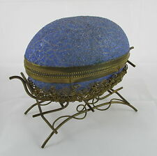 Victorian French Crackle Art Glass Blue Egg Brass Filigree Mount Jewelry Box
