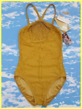 NWT GOTTEX GOLD BEADED EMBROIDERED MESH OVERLAY HIGH NECK ONE PIECE SWIMSUIT 10