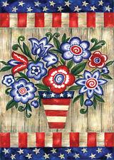 Patriotic Flowers Stars & Stripes Red, White & Blue Garden TOLAND Sm MINI FLAG