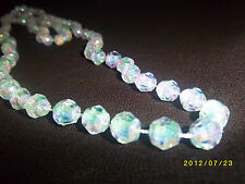 VINTAGE GATSBY IRRIDESCENT WHITE CRYSTAL FACET PLASTIC BEAD NECKLACE LONG 1980s