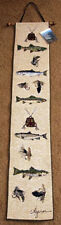 Trout & Flies ~ Fisherman Tapestry Wall Hanging Bellpull
