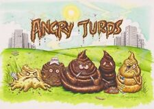 Angry Turds  ~ Rude / Offensive Blank Greetings Card