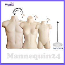 3 Dress Body Form Mannequins Male Female & Child Torso Set+ 1 Stand + 3 Hangers