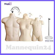 3 Dress Body Form Mannequins Male Female Amp Child Torso Set 1 Stand 3 Hangers