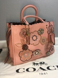 Coach 1941 Exotic Tea Rose Rivets Rouge 26890 Peony/Brass 100% Authentic BNWT