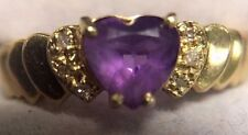 10K SOLID YELLOW GOLD AMETHYST HEART AND GENUINE DIAMOND RING SIZE 6