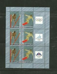 3 x Slovenia #657 a-b, + label at right 2006 Winter Olympics, Turin