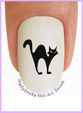 Nail Art #206 Black Cat Yellow eyes Waterslide Nail Decals Transfers Stickers