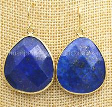 Fashion Women's Lapis Lazuli Faceted Gemstone Dangle Gold Plated Hook Earrings