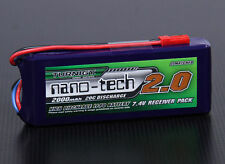 Turnigy nano-tech 2000mAh 2S 7.4v 20C 40C Lipo Receiver Pack Battery RX .50 .90