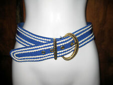 Austria Nautical Blue White Rope Cording Belt Goldtone Artful Metal Accents Eyes