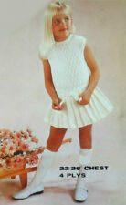 "Vtg Knitting Pattern • Girls Pretty Dress with Pleated Skirt • Childrens  22-26"""